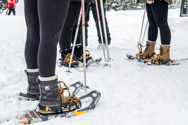 Snowshoes are available for rent at in the Village Centre Mall.